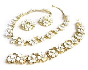 Vintage Crown Trifari Necklace, Earrings, Bracelet, Fleurette White Enamel Flower Rhinestones Set, Bridal Wedding, Floral Choker Full Parure