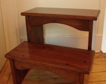 "Handcrafted Heavy Duty Wooden Step Stool 16"" EXTRA tall, Wood Pet Steps, Kitchen Bedside Bed Bathroom Golden Brn Mahogany other stains sizes"
