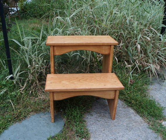 Pleasing Handcrafted Heavy Duty Wooden Step Stool 16 Extra Tall Wood Pet Steps Kitchen Bedside Bed Bathroom Cherrywood Or Other Stains Sizes Ibusinesslaw Wood Chair Design Ideas Ibusinesslaworg