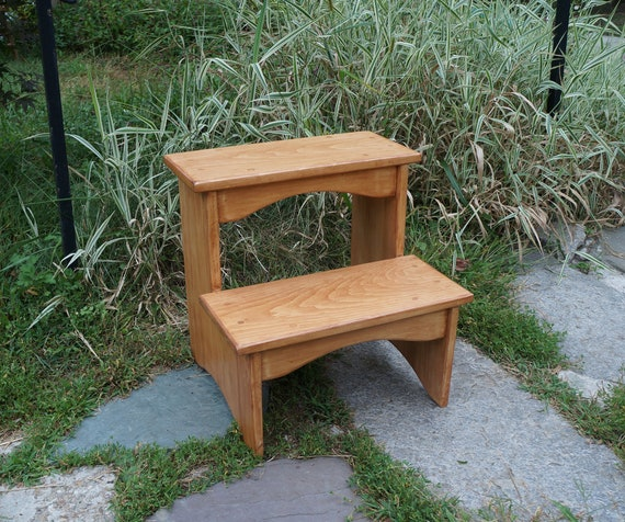 Fantastic Handcrafted Heavy Duty Wooden Step Stool 16 Extra Tall Wood Pet Steps Kitchen Bedside Bed Bathroom Cherrywood Or Other Stains Sizes Ibusinesslaw Wood Chair Design Ideas Ibusinesslaworg