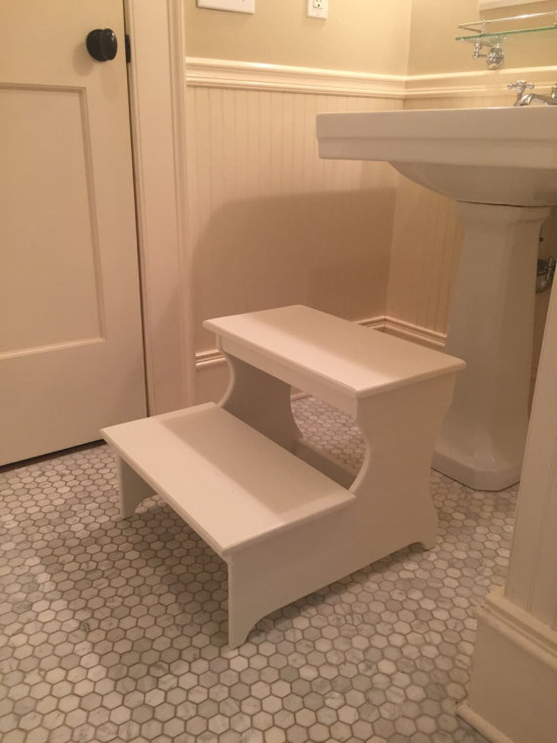 """Wooden Step Stool Bedside: Benches & Stools Home & Garden 16.5"""" Tall Handcrafted"""