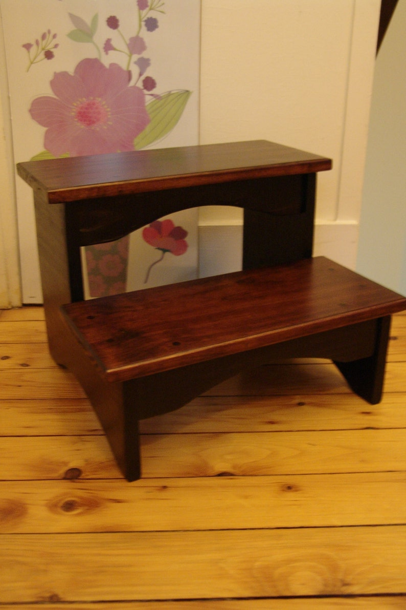 Wooden Step Stool Bedside: Handcrafted Heavy Duty 2 Step Stool Solid Wood Bedside