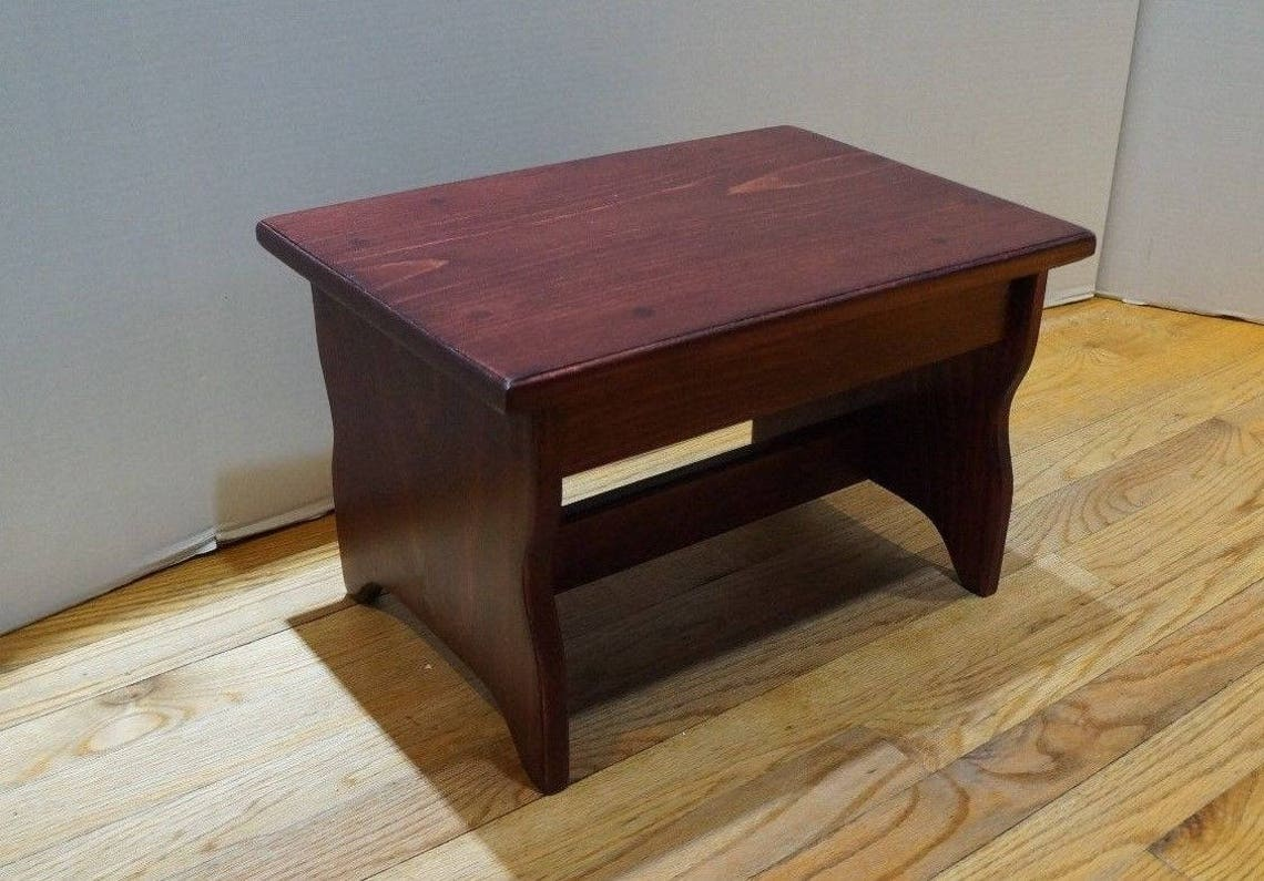 """Custom Request 9"""" deep x 16"""" x 12"""" tall Handcrafted Heavy Duty Step Stool, Solid Wood Display Stand Riser Georgian Cherry, other colors"""