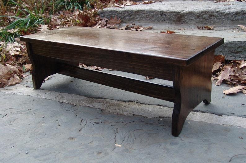 Handcrafted Heavy Duty Step Stool stains or unfinished 27 long x  8.5h Golden Oak Wooden Bed Bedside Bedroom Kids Bathroom Wood