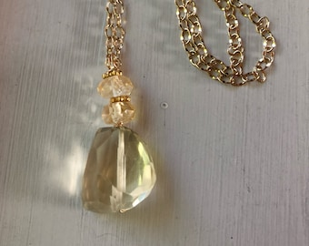Citrine necklace with gold filled chain