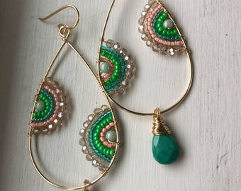 Greens and turquoise decorative hoops