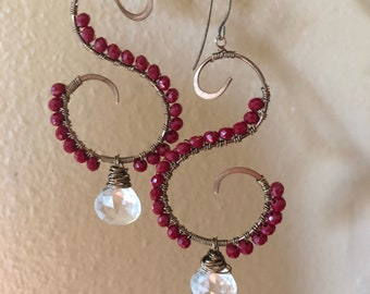 Red swirls with crystal quartz