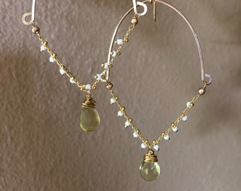 Gold filled dropped earrings with citrine