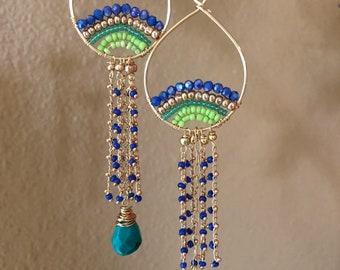 Long blue green earrings