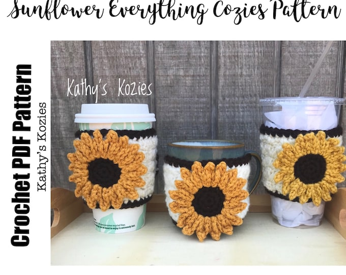 PDF PATTERN ONLY Crocheted Sunflowers Adjustable Everything Cozies  Mug Cozy  Coffee Cozy  Cup Cozy