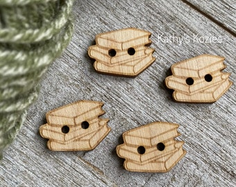 Knitting Sewing Rainbow Buttons Birch wood laser cut and engraved  4 10 or 25 buttons  Crochet