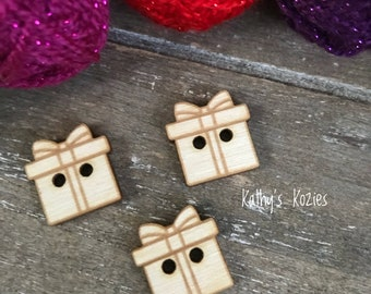 Birch wood laser cut Present/ Gift Buttons 3/4 inch  Ideal fror Crochet and Knit Projects / Christmas