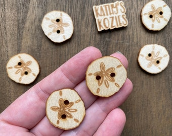 Birch wood laser cut Sand Dollar Buttons 1 inch  Ideal fror Crochet and Knit Projects