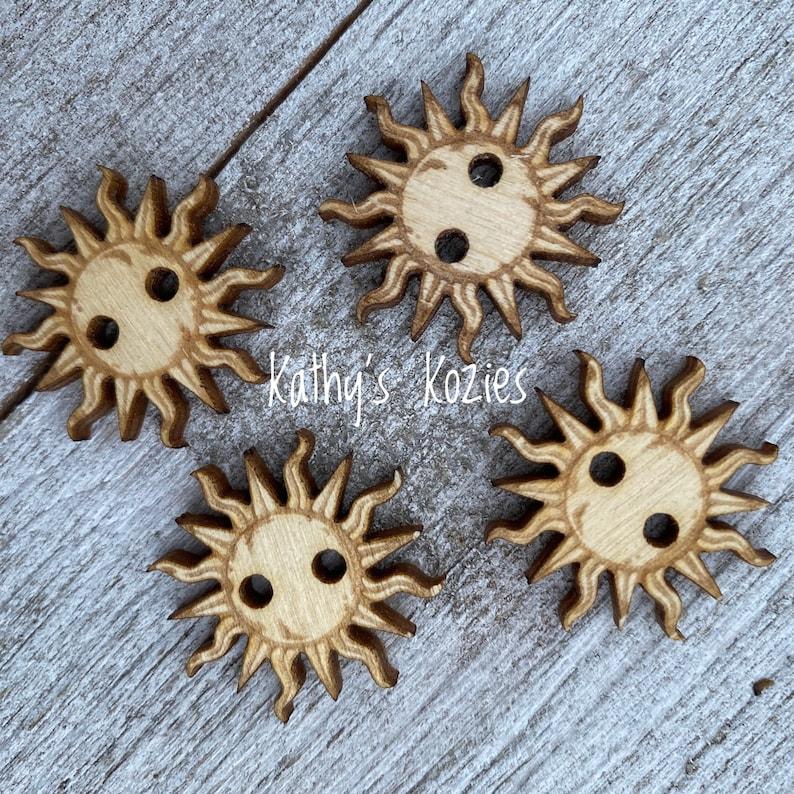 Birch wood laser cut Sun Buttons 1 inch  Ideal fror Crochet image 0