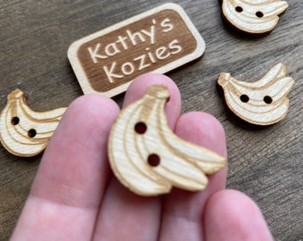 Birch wood laser cut Banana Buttons 1 inch  Ideal fror Crochet and Knit Projects 4,10 or 25