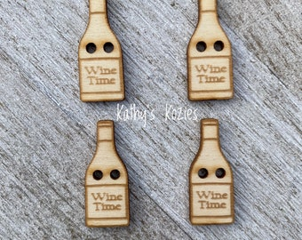 Wine Time Bottle Buttons Birch wood laser cut /1 inch / 4, 10 or 25 buttons/  Ideal fror Crochet and Knit Projects