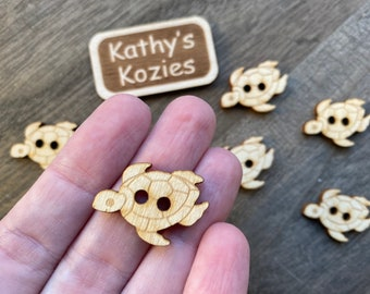 Birch wood laser cut Sea Turtle Buttons 1 inch  Ideal fror Crochet and Knit Projects