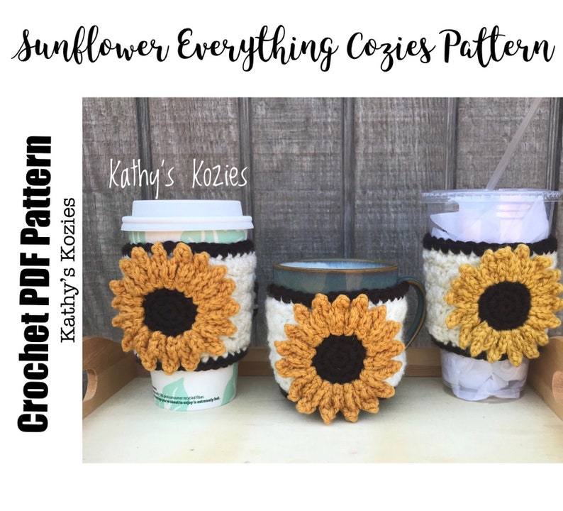 PDF PATTERN ONLY  Crocheted Sunflowers Adjustable Everything image 0