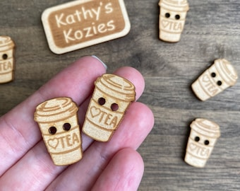 Birch wood Tea cup buttons/ Tea with a heart / laser cut and engraved / 4, 10 or 25 buttons