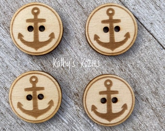 Birch wood laser cut Anchor Buttons 1 inch  Ideal fror Crochet and Knit Projects