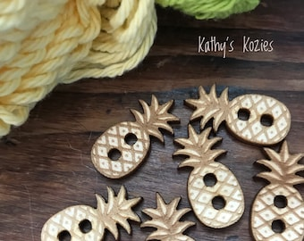 Birch wood laser cut Pineapple Buttons 1 inch  Ideal fror Crochet and Knit Projects 4,10 or 25