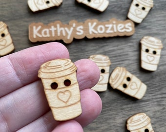 Birch wood Coffee cup buttons/ Heart image / laser cut and engraved / 4, 10 or 25 buttons