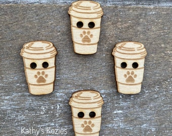 Paw Print Coffee Cup Buttons/ Birch wood  / laser cut and engraved / 4, 10 or 25 buttons ' Crochet, Knitting, Sewing / Irish Coffee