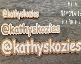 Custom Name Plate / Social Media Handle Nameplate / photo prop / branding / wood / Laser engraved / flat lay prop / Instagram / Facebook