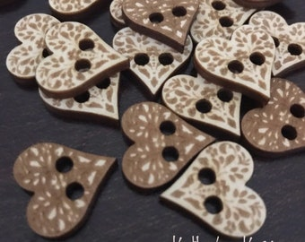 Birch wood laser cut Fancy Heart Buttons 3/4 inch  Ideal fror Crochet and Knit Projects 4,10 or 25