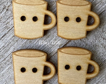Birch wood Coffee MUG buttons/ Blank / laser cut and engraved / 4, 10 or 25 buttons