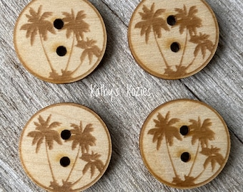 Birch wood laser cut Palm Tree Buttons 1 inch  Ideal fror Crochet and Knit Projects
