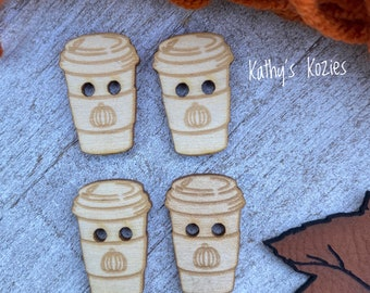 Birch wood Coffee cup buttons/ PUMPKIN image / laser cut and engraved / 4, 10 or 25 buttons