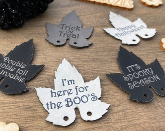 HALLOWEEN Pumpkin Leaf Tags with Sayings / Individual OR MULTIPACK / Faux, Vegan LeatheR,  Leatherette Cork / 1, 5 or 10