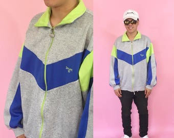 Vintage windbreaker jacket track jacket cotton jacket zip up 1990s 1980s 90s 80s spalding nike fila