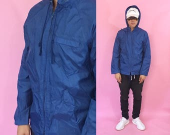 Vintage windbreaker jacket hoodie blue jacket blue windbreaker 1990s 1980s 90s 80s