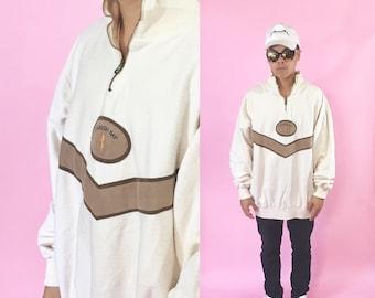 90's Vintage sweatshirt pullover quarter zip 1990s 1980s 90s 80s cream tan