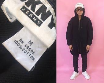 DKNY sweater vintage hoodie vintage sweatshirt hoodie cinch coat calvin klein 1990s 1980s 90s 80s black sweatshirt