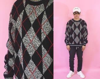 Vintage knit sweater argyle sweater size medium coogi cosby sweater 1990s 1980s 90s 80s