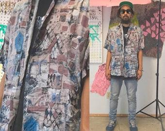 Vintage silk shirt 1990s abstract loud print all over print 1980s fresh prince summer shirt