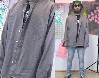 Vintage mandarin collar button up shirt ll bean casual shirt grey tan workwear streetwear
