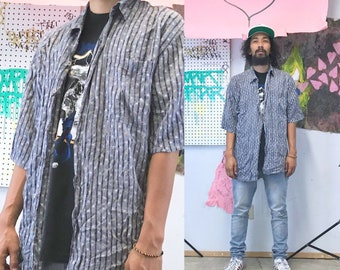 Vintage loud print shirt striped rayon 1990s stoner slacker blue size xl