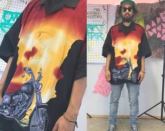 Vintage biker shirt hawaiian red flames 1990s 1980s 90s fieri camp bowling shirt