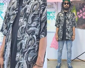 Vintage silk shirt loud print all over print 1990s 1980s fresh prince silk