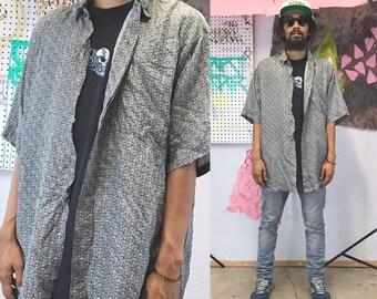 Vintage silk shirt loud print shirt all over print colorful shirt summer shirt casual shirt size large 1990s 1980s