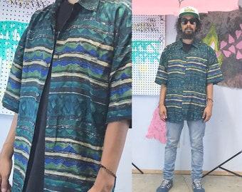 Vintage silk shirt green blue striped 1990s 1980s loud print shirt all over print 90s