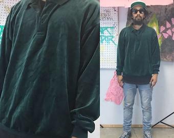 Vintage velour sweatshirt long sleeve polo sweater green 1980's 1990's 90s 80s