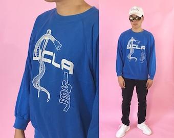 90's vintage sweatshirt UCLA blue sweater 1990s 1980s 80s crewneck
