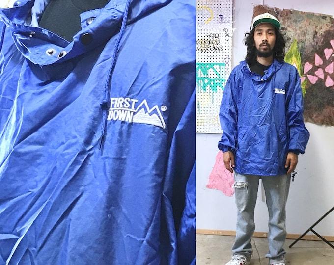 Featured listing image: Vintage first down rain poncho hoodie hip hop wu tang nyc 1990's vintage windbreaker blue XL