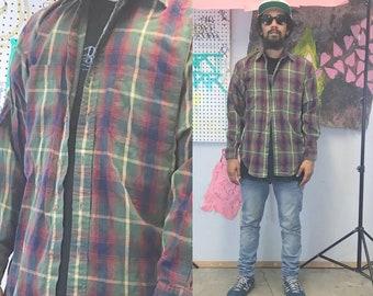 Vintage plaid flannel shirt grunge 1990s 1980's hunting