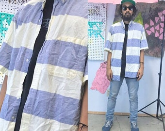 Vintage striped shirt summer casual blue cream 1990s 1980s size xl